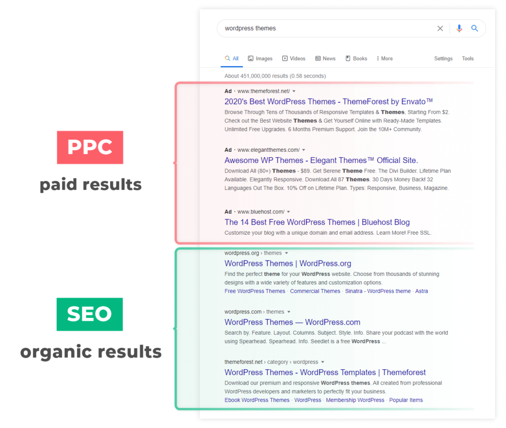 Organic and Paid Result